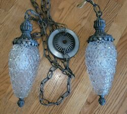 Vintage Mid Century Hanging Glass Pineapple Light Fixture Double Swag Complete