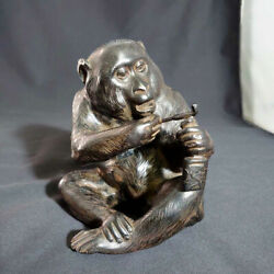Japanese Antique Monkey With A Smoking Pipe Bronze Statue