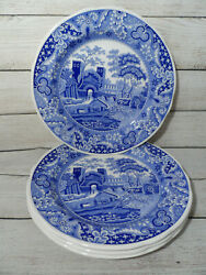 New Set 4 Spode Blue Room Collection Traditions Castle 10 3/8 Dinner Plate
