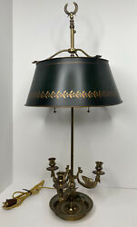 Vintage Chapman French Empire 3 Arm Brass Swan Bouillotte Lamp Tole Shade Read