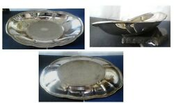 National Silver Company 12 Oblong Serving Dish Silver On Copper Etched Pattern