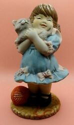 Collectable House of Lloyd Porcelain Figurine Girl with Kitten Blue Dress Bows
