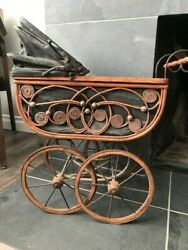 Victorian Vintage Wicker Wood Baby Doll Carriage Stroller Buggy