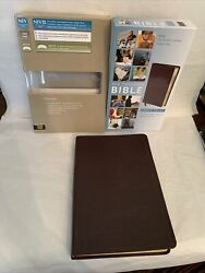 Niv Thinline Thumb Bible Burgundy Leather Red Letter 2011 Large Print W Box 50