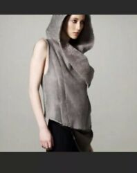Helmut Lang Weathered Vest Hoodie Small Grey Leather Shearling Lined Moto Rare