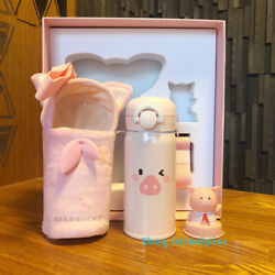 Rare 2019 China Starbucks Thermos Lovely Pig Vacuum Cup Pink With Cup Set 12oz