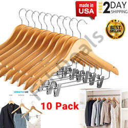 High-grade Wooden Suit Hangers Skirt With Clips 360° Smooth Solid Wood 10 Pack ✅