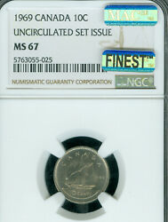1969 S.d. Canada 10 Cents Ngc Ms67 Mac Finest Business Strike Mac Spotless ..