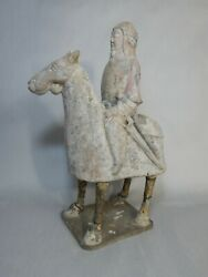 Northern Qi Dynasty 549-577ad Man Horse Figurine Thermo Cert Repaired北齐雕塑