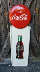1950 Coca Cola Pilaster Sign With Button. 54inx16in. Painted Metal. Original
