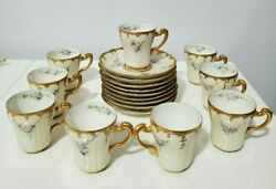 Antique Theodore Haviland Limoges Cups And Saucers