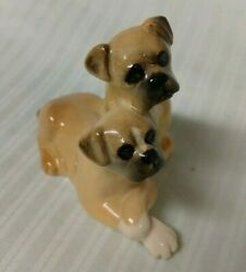 Beswick England 2 Boxer Dog Pups Figurine Brown amp; White 2quot;