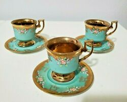 Arnart Creation Teacup And Saucer Blue And Gold Pink Flowers
