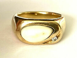 Vintage 14k Solid Yellow Gold Diamond Elk Tooth Heavy Bold Men's Ring Size 10.75