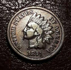 High Detail Semi Key Date 1874 Indian Head Cent Penny Coin Old 1c