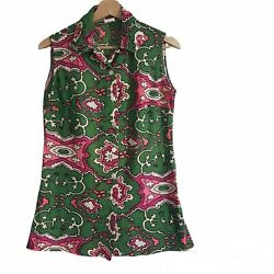 Funky Vintage 90s Sleeveless Blouse Made In Canada 60s Mod Style Size 12 Read