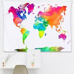 World Map Tapestry Watercolor Tapestry Map. Wall Hanging Tapestry of the World