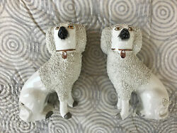 Antique Pair Staffordshire Poodle Water Spaniel Dogs Separate Legs England
