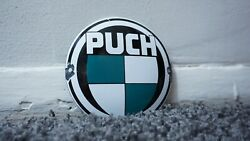 Vintage Puch Scooter Porcelain Sign Gas Motor Service Station Plate Oil Rare Ad