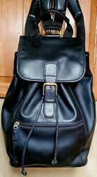 Coach And03990s Black Leather Backpack 0529 Mens/womens Vintage Large Rucksack Nice