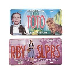 Lot Of 2 Vintage Wizard Of Oz Collectible Licence Plates | Rby Slprs / Toto 2000