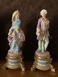Antique French Limoges Old Haviland Pair Of Porcelain Figurines Very Rare