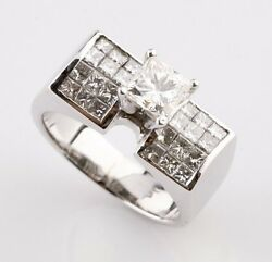 2.00 Carat Diamond Princess Cut Solitaire With Accent 18k White Gold Ring Size 6