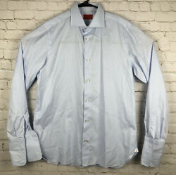 Isaia Long Sleeve Solid Blue French Cuff Dress Shirt 16.5 x 42