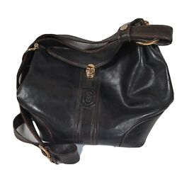 Marino Orlandi Black Bucket Converts to Sling Leather Bag Large Made in Italy $40.00