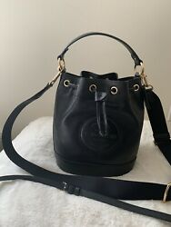 NWT Coach C4100 Dempsey Drawstring Bucket Bag In Pebble Leather Black $100.00