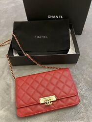 AUTHENTIC CHANEL GOLDEN CLASS WALLET ON CHAIN RED BAG $2500.00