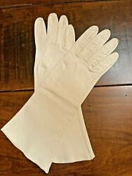 Vintage Ladies Evening White Soft Leather Gloves Small 12quot; $24.99