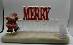 Vintage Merry Christmas Table Top Glitter Light Up Sign Music Songs Santa And Tree