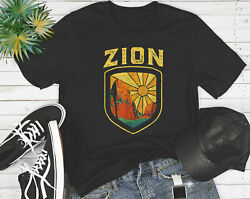 Zion National Park Vintage Badge Retro Graphic Shirt S-6xl Tee Camping Hiking
