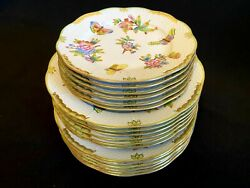Herend Porcelain Handpainted Queen Victoria Dinnersoup And Dessert Plates 1960and039