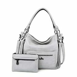 Angelkiss Hobo Shoulder Bags for Women Large Faux Leather Crossbody L.grey $46.05