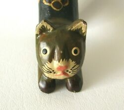 Carved Wooden Folk Art Paw Print Long Tail Cat Figurine Ring Holder