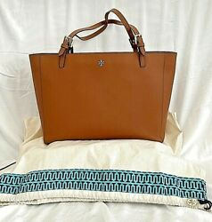 Tory Burch Emerson Buckle large Saffiano Leather Tote in Brown Camel $90.00