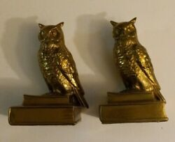 2 Pm Craftsman Brass Owls Bookends