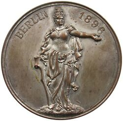 Germany Empire Silver Plated Medal Berlin 1896 50mm 51g P60 219