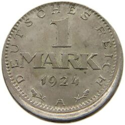 Germany 1 Mark 1924 A Minting Error Off-center T64 113