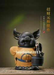 Purple Sand Pottery Chinese Zodiac Wealth Fengshui Animal Pig Hog Sculpture