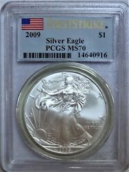 2009 American Silver Eagle 1 First Strike Pcgs Ms70