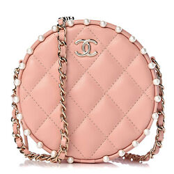 Calfskin Quilted Pearl Round Clutch With Chain Full Set