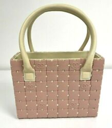 Coco Mark Pink And Ivory Square Puzzle Double Handle Tote Bag Rare