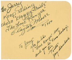 Lone Ranger Tv Cast - Autograph Note Signed 1950 With Co-signers