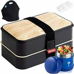 Monka Bento Lunch Box For Adults And Kids, With Thermos Vacuum And Lunch Bag