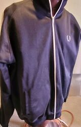 Authentic Fred Perry Black Track Top Jacket Black White Stipe Size Xxlarge