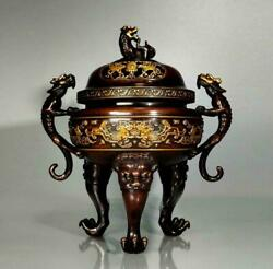 Old Chinese Qing Dynasty Bronze 24k Giltincense Burner With Xuande Marked