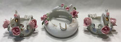 Vintage Lot Of 3 Lefton Swan Roses Trinket Dish And Ashtray Hand Painted China